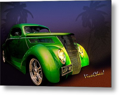 Green 37 Ford Hot Rod Decked Out For A Tropical Saint Patrick Day In South Texas Metal Print by Chas Sinklier