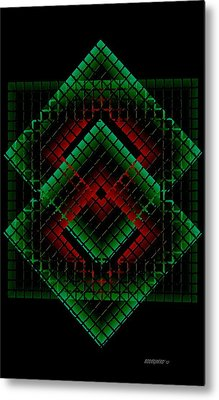 Green And Red Geometric Design Metal Print by Mario Perez
