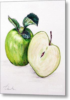 Green Apple Metal Print by Danuta Bennett