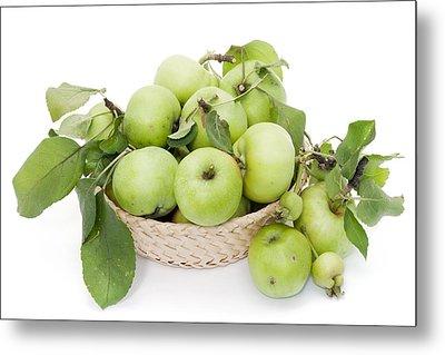 Green Apples In Basket Metal Print by Aleksandr Volkov