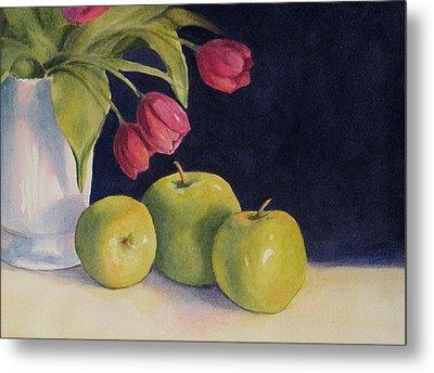 Green Apples With Tulips Metal Print by Vikki Bouffard