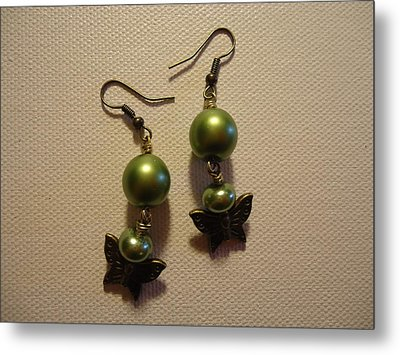 Green Butterfly Earrings Metal Print by Jenna Green