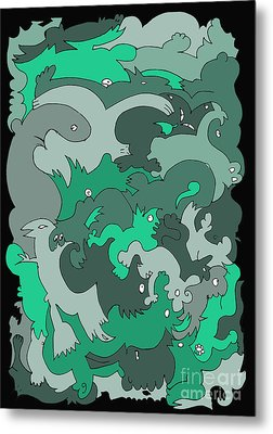 Green Creatures Metal Print by Barbara Marcus