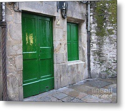 Metal Print featuring the photograph Green Door by Arlene Carmel