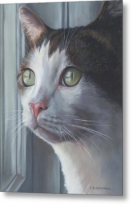 Metal Print featuring the painting Green Eyed Cat by Alecia Underhill