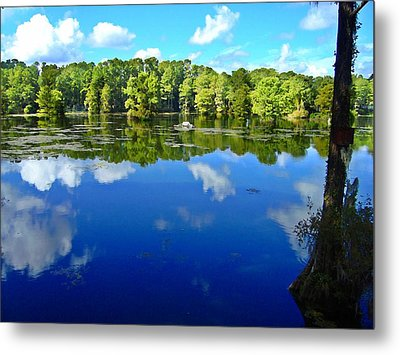 Green Field Lake Metal Print