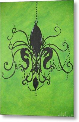 Green Fleur De Chandelier Metal Print by Marian Hebert