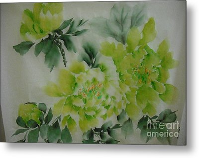 Metal Print featuring the painting Green Flower ----- 001 by Dongling Sun