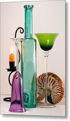 Metal Print featuring the photograph Green Glass by Elf Evans