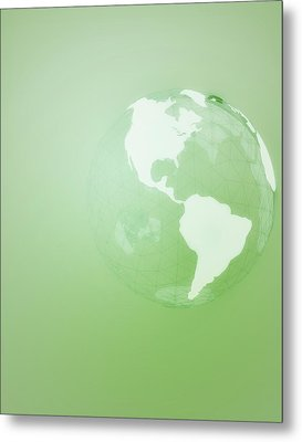 Green Globe Of The Americas Metal Print by Jason Reed