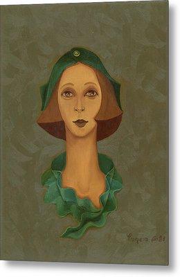 Green Hat Carre Woman Face  Metal Print by Rachel Hershkovitz