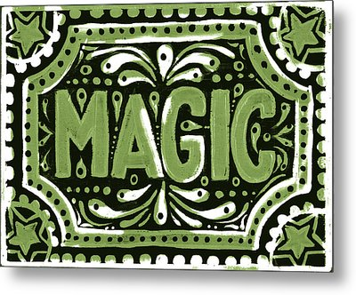 Metal Print featuring the painting Green Magic by Nada Meeks