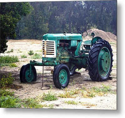 Green Oliver Tractor Metal Print by William Havle