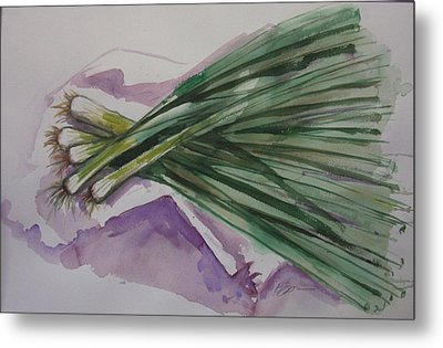 Green Onions Metal Print by Barbara Spies