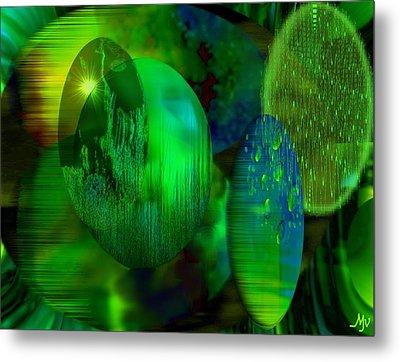 Green Ovals Metal Print by Mathilde Vhargon