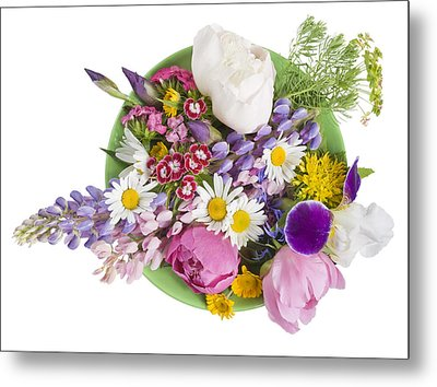 Metal Print featuring the photograph Green Plate With June Flowers by Aleksandr Volkov