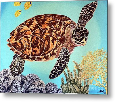 Green Seaturtle 1 Metal Print by Nanci Fielder