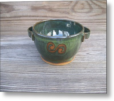 Green Soup Bowl Metal Print by Monika Hood