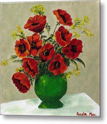Green Vase Red Poppies Metal Print by Susan McLean Gray