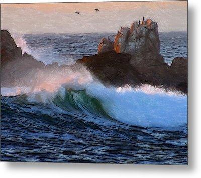 Green Waves Pastel Metal Print by Steve K