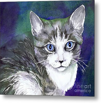 Grey And White Kitten Metal Print by Cherilynn Wood