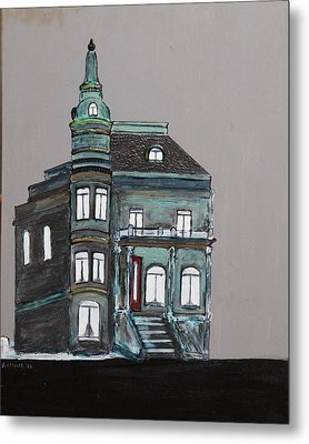 Grey Victorian Mansion-montreal Metal Print