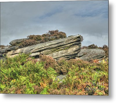 Gritstone Outcrop - Colour Metal Print by Steev Stamford