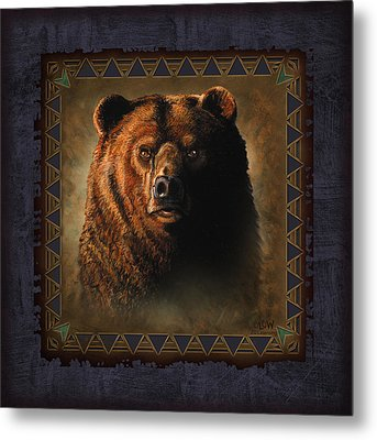 Grizzly Lodge Metal Print by JQ Licensing