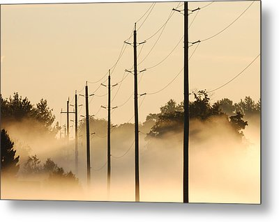 Ground Fog With High Wires Metal Print by Bruce Kenny