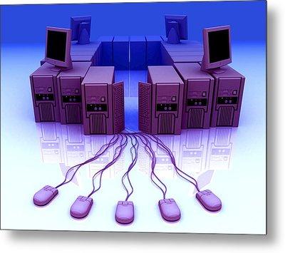 Group Of Personal Computers Metal Print by Christian Darkin