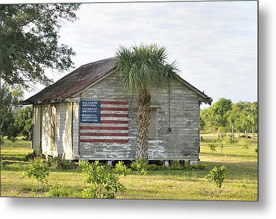 Grove Shack With Flag Metal Print by Bradford Martin