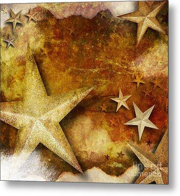 Grunge Golden Sparkle Star Background Metal Print by Angela Waye