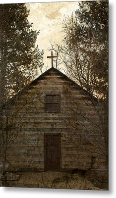 Grungy Hand Hewn Log Chapel Metal Print by John Stephens