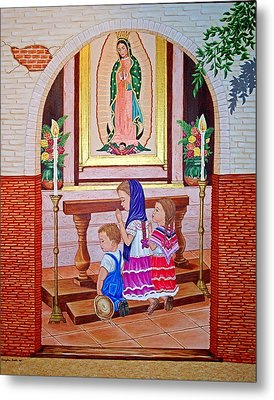 Metal Print featuring the painting Guadalupe Y Ninos by Evangelina Portillo