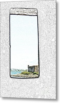 Guard Tower View Castillo San Felipe Del Morro San Juan Puerto Rico Colored Pencil Metal Print by Shawn O'Brien