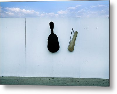 Guitar And Violin Case In Plaza Garibaldi In Df. Metal Print by 4 Eyes Photography