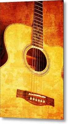 Guitar On Old  Wall Metal Print by Nattapon Wongwean