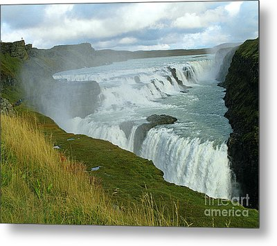 Metal Print featuring the photograph Gullfoss Waterfalls  Iceland by Louise Peardon