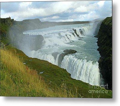 Gullfoss Waterfalls  Iceland Metal Print by Louise Peardon