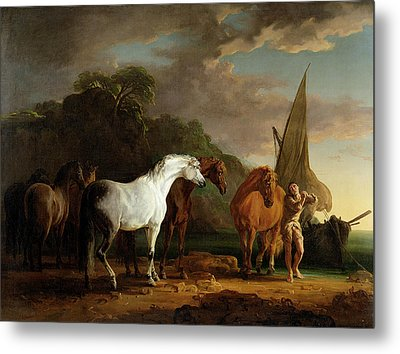 Gulliver Taking His Final Leave Of The Land Of The Houyhnhnms Metal Print by Sawrey Gilpin