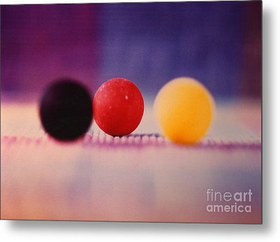 Gumballs On Placemat Metal Print by Christine Perry