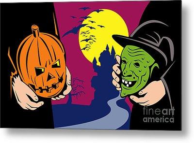 Halloween Mask Jack-o-lantern Witch Retro Metal Print by Aloysius Patrimonio