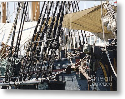 Halyards And Sheets Metal Print by MaryJane Armstrong