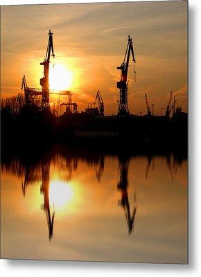 Metal Print featuring the photograph Hamburg Docks by David Harding