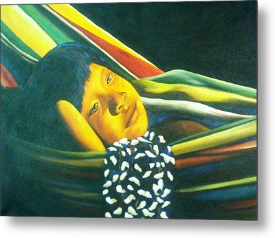 Hammock Child Metal Print by Unique Consignment