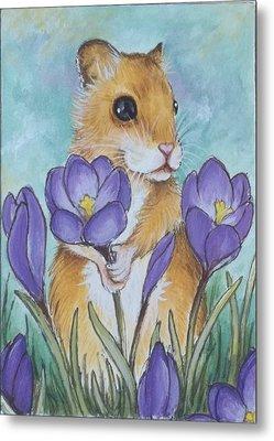 Hamster Picking Purple Crocus Metal Print by Debrah Nelson