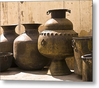 Hand Crafted Jugs, Jaipur, India Metal Print by Keith Levit