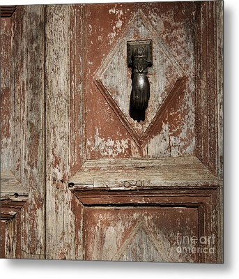 Hand Knocker And Weathered Wooden Doors Metal Print by Agnieszka Kubica