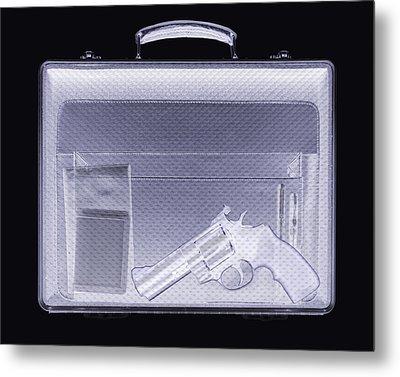 Handgun In Briefcase, Simulated X-ray Metal Print