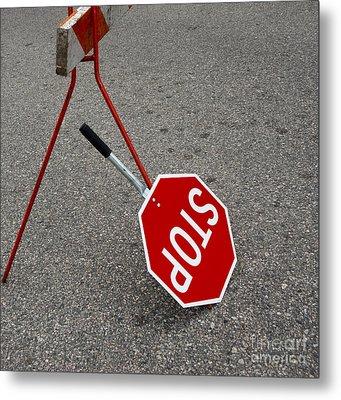 Handheld Stop Sign Metal Print by Marlene Ford